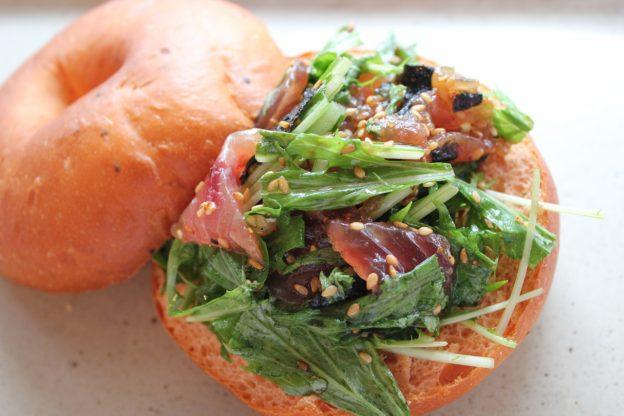 ベーグルレシピ 7月13日 マグロと水菜の和風サラダサンド